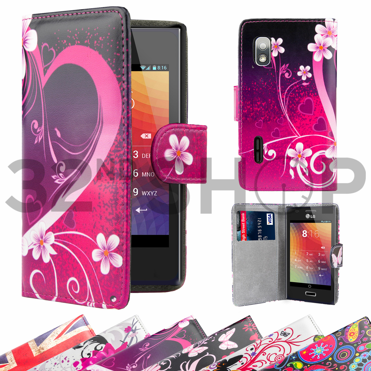 Porte feuille housse tui clapet en cuir synth tique for Housse lg optimus l5 e610