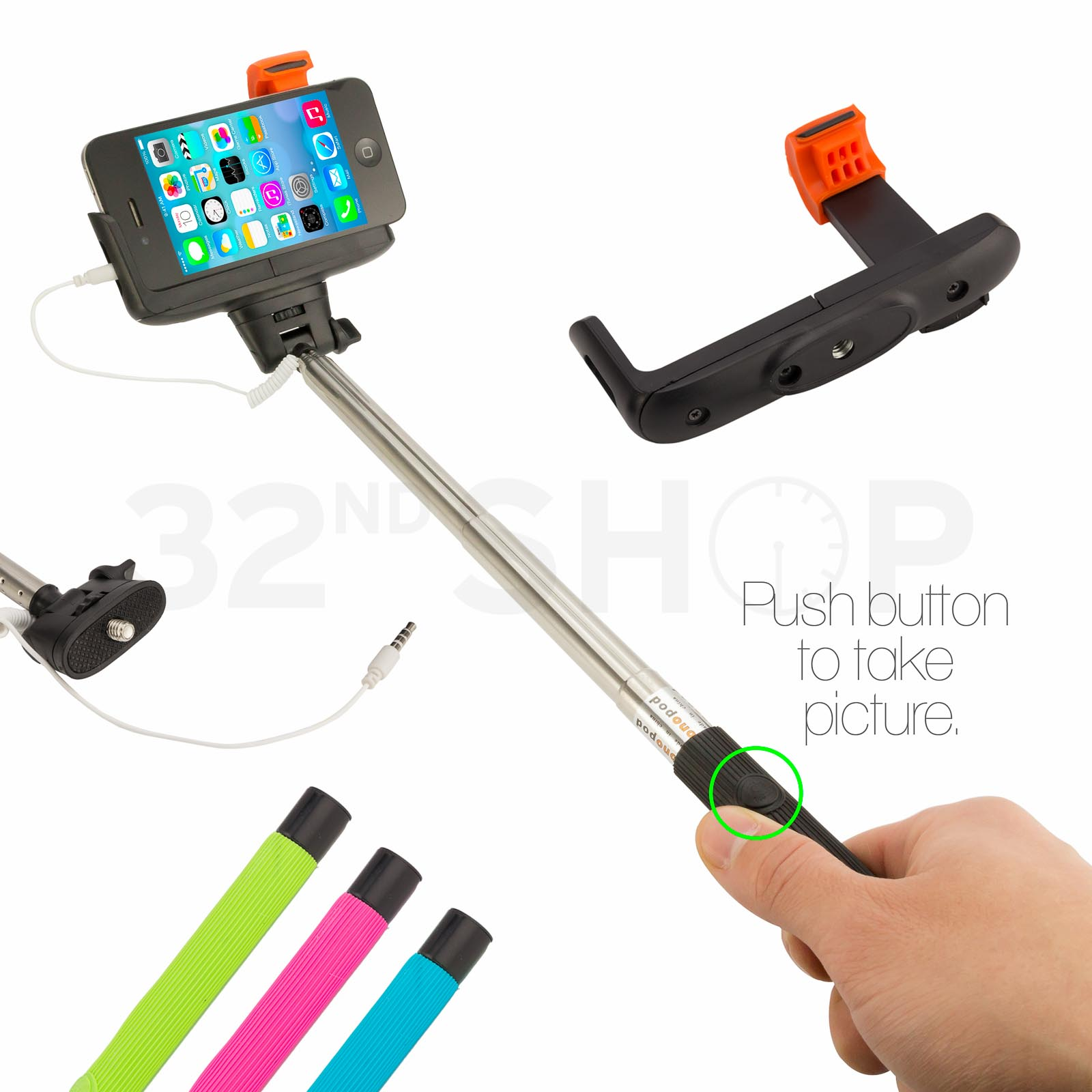 new selfie stick telescopic monopod with shutter button iphone compatible ebay. Black Bedroom Furniture Sets. Home Design Ideas